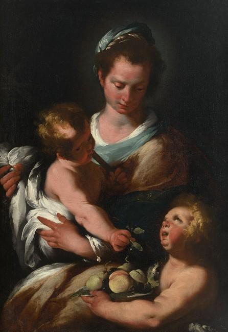 Bernardo Strozzi, Madonna and Child with Saint John the Baptist, c. 1625