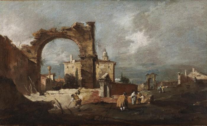 Francesco Guardi, Capriccio with arch in decay and villa in the background, c. 1770