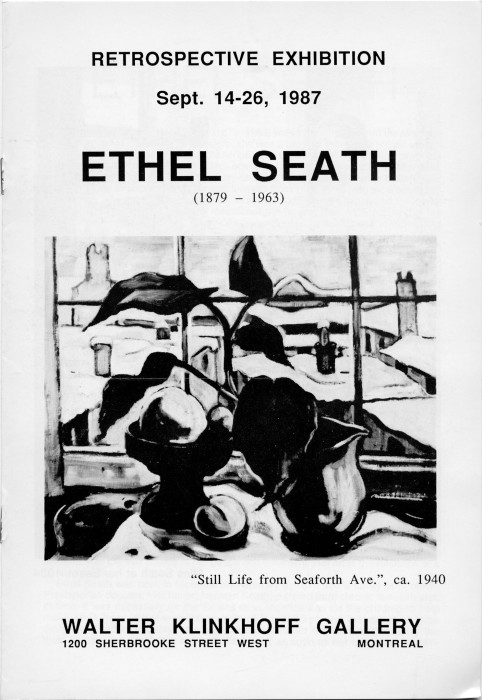 Ethel Seath (1879-1963) Retrospective Exhibition. Biogrpahy written by Roger Little. Published by Galerie Walter Klinkhoff, 1987.