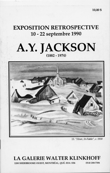 A.Y. Jackson (1882-1974) Retrospective Exhibition. Text by Walter Klinkhoff, published by Galerie Walter Klinkhoff, 1990.