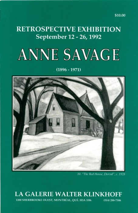 Anne Savage (1896-1971) Retrospective Exhibition. Biogrpahy by Barbara Meadowcroft, published by Galerie Walter Klinkhoff, 1992.