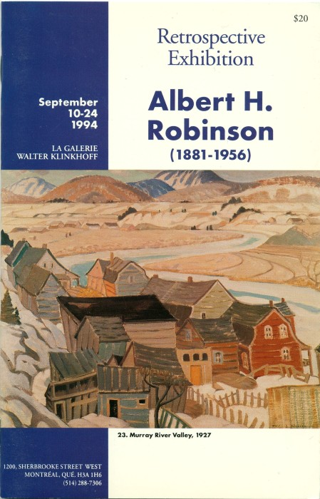 Albert H. Robinson (1881-1956) Retrospective Exhibition. Text written by Thomas R. Lee, prefaced by Walter Klinkhoff. Published by Galerie Walter Klinkhoff, 1994.