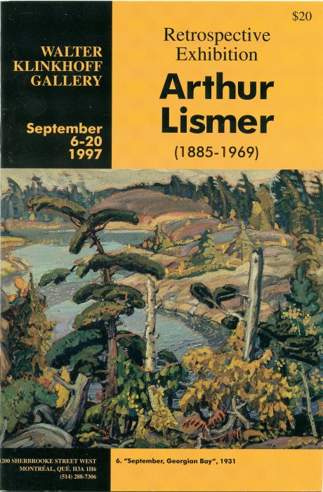 Arthur Lismer (1885-1969) Retrospective Exhibition. Text by Walter Klinkhoff, published by Galerie Walter Klinkhoff, 1997.
