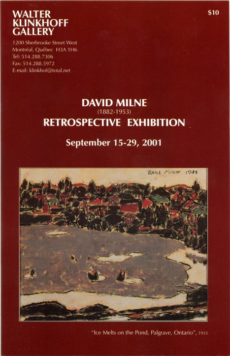 David Milne (1882-1953) Retrospective Exhibition. Biography written by Dorota Kozinska; catalogue published by Galerie Walter Klinkhoff
