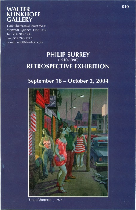 Philip Surrey (1910-1990) Retrospective Exhibition. Written by Terry Rigelhof, published by Galerie Walter Klinkhoff, 2004.