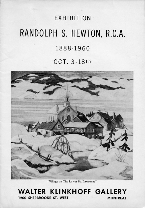 Randolph Hewton Retrospective Exhibition catalogue. Biography written by A.Y. Jackson, published by Galerie Walter Klinkhoff, 1962.
