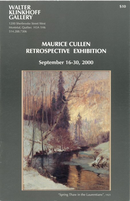 Maurice Cullen, R.C.A. (1866-1934). Biography written by Conrad Graham, catalogue published by Galerie Walter Klinkhoff, 1974.