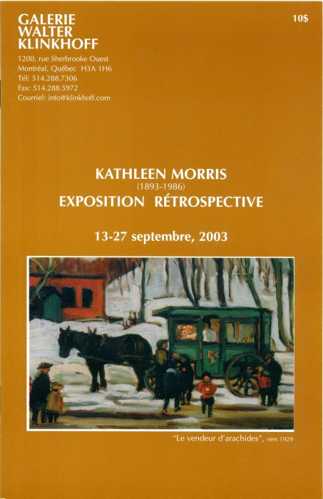 Kathleen Morris, A.R.C.A. (1893-1986) Retrospective Exhibition. Text written by Dorota Kozinska. Published by Galerie Walter Klinkhoff, 2003.