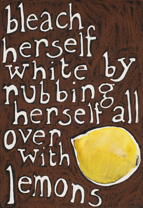 Jade Montserrat, Bleach herself white by rubbing herself all over with lemons, 2017