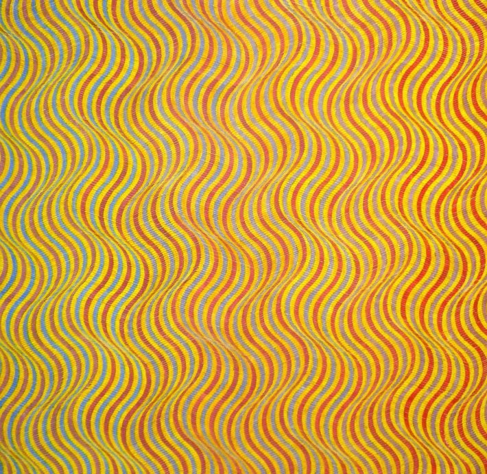 """<span class=""""artist""""><strong>David Whitaker</strong></span>, <span class=""""title""""><em>Blue To red On Yellow</em>, 1976</span>"""
