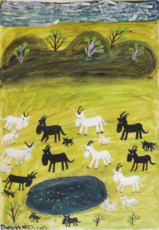 "<span class=""artist""><strong>Thelma Dixon</strong></span>, <span class=""title""><em>Nanny Goats at Robinson River</em>, 2011</span>"