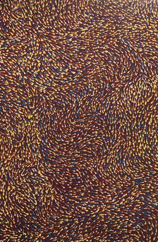 "<span class=""artist""><strong>Elizabeth Kunoth Kngwarray</strong></span>, <span class=""title""><em>Yam Seeds and Flowers (detail)</em>, 2008</span>"