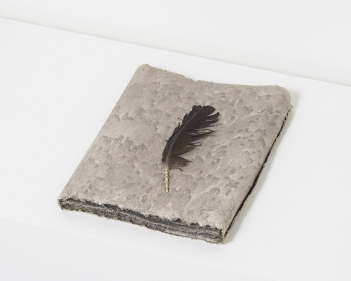 Michelle Stuart Wind Book, 1978 Earth and feather from site in Tikal Guatemala, muslin-mounted rag paper 33 x 25.4 x 3.8 cm, 13 x 10 x 1 1/2 © Michelle Stuart