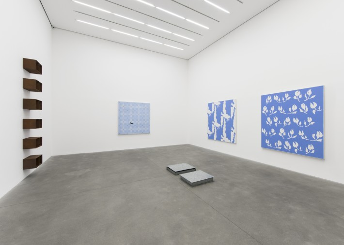 Installation view: An Unlikely Friendship: John Wesley in conversation with Donald Judd, Alison Jacques Gallery, 2019.