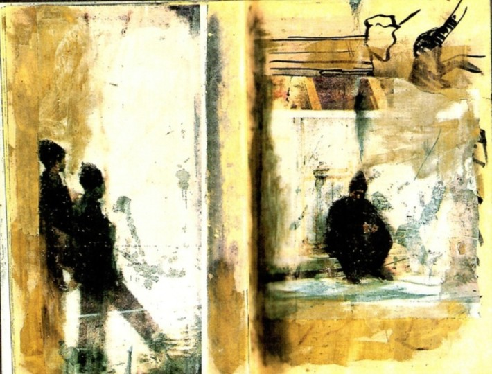 <p>'Feb. 8 A.D. 2079', 1986, pencil, printing ink, collage on book, 22 x 14 cm</p>