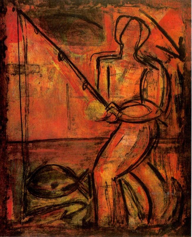 <p>'Fisherman', 1987, Etching, 87.5 x 72.5 cm</p>