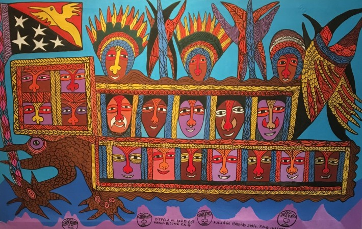 <p>Mathias Kauage, <em>Dispela ol Kolim bot Kenu bilong</em> ,1996, acrylic on canvas, 104 x 168 cm, 41 x 66 1/8 in</p>