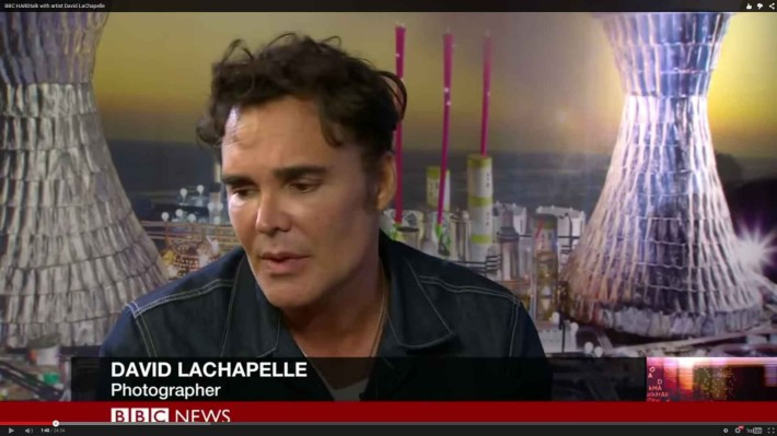 """David Lachapelle interviewed , by BBC """"Hardtalk"""" at the London Gallery, talking about his work, inspiration and life"""