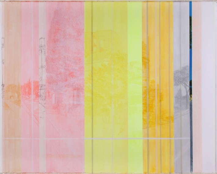 Daniele Genadry  The Construction of Via Appia, 2014  Oil and acrylic on canvas  205.7 x 271.8 cm. / 81 x 107 in.