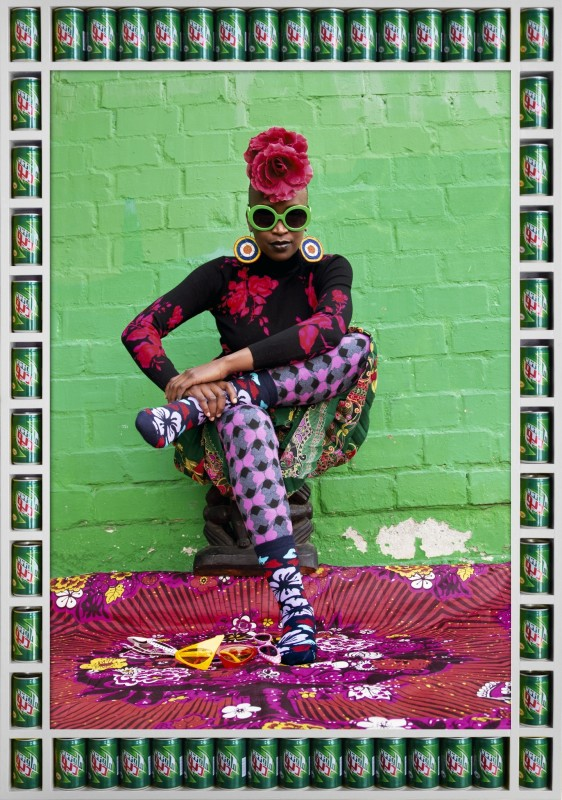 Hassan Hajjaj  Wamuhu, 2014  Print: Metallic lambda print on 3mm dibond Frame: Wood sprayed white and Mountain Dew cans  Frame: 53.5 x 36.8 in (135.9 x 93.4 cm) Print: 44.02h x 30w in (111.8h x 76.2w cm)  edition of 5 plus 2 artist's proofs