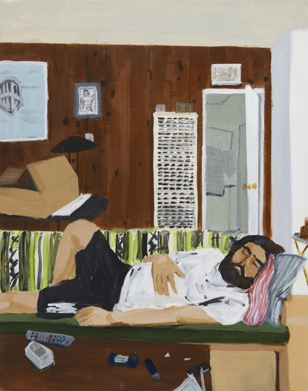 Jake Sheiner  Scene from my Quarantine Part 21, 2020  Acrylic on wood panel  35.5 x 28 cm. / 14 x 11 in.