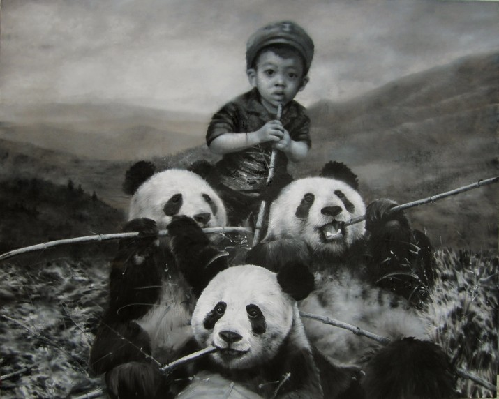 Manger avec les Panda, 2012, Oil on canvas, 200 x 250 cm