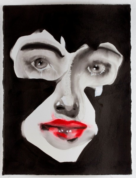Face Cut, 2014, From the series Mystery, Ink and acrylic on paper, 76 x 58 cm