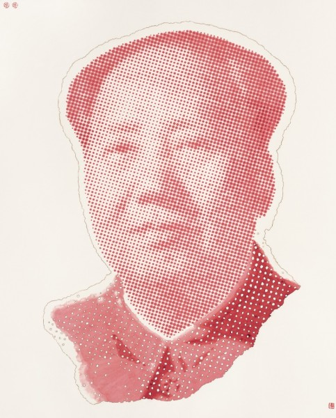 Red Portrait of Chairman Mao, 2006, Ink and Tibetan incense on rice paper, 155 x 124 cm