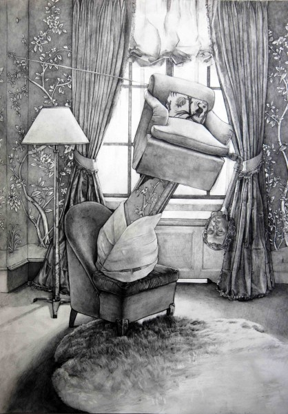 Hypothetical Arrangement for the Home of Aerin Lauder #1, 2014, graphite and graphite wash on paper, 35.5 x 51 cm
