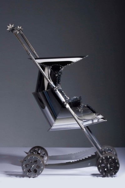 Na Zha Baby Carriage, 2007, Stainless Steel, Unique Piece, 119 x 76 x 47 cm
