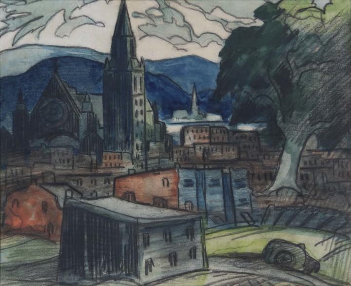 Marc-Aurèle Fortin, A.R.C.A., Paysage à Hochelaga, 1946 (April)