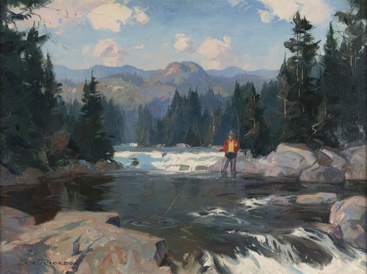 Eric Riordon, A.R.C.A., On the Rouge River, Québec, 1946 (circa)