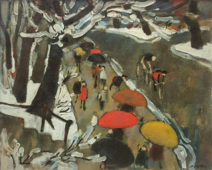 William Winter Umbrellas Oil on canvas 20 x 24 in 50.8 x 61 cm