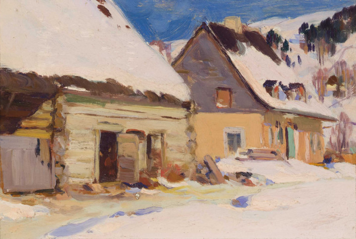 Clarence A. Gagnon Ferme du rang Saint-Laurent, Baie Saint-Paul, 1924 (circa) Oil on wood panel 4 3/4 x 7 1/4 in 12.1 x 18.4 cm
