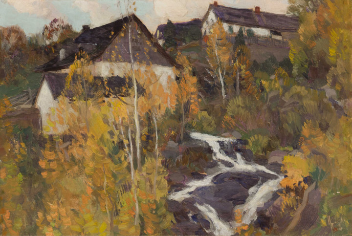 Clarence A. Gagnon The Old Mill or Automne dans Charlevoix, 1923 (circa) Oil on panel 6 x 9 in 15.2 x 22.9 cm