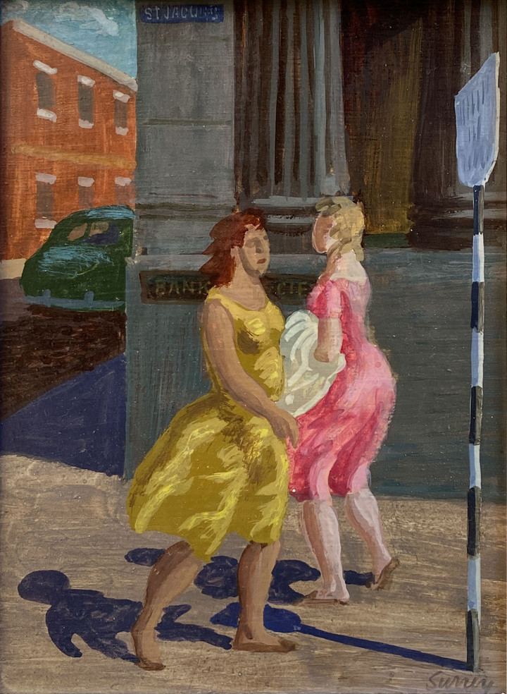 Philip Surrey Women Walking, St. Jacques Street, Montreal Oil on board 8 x 6 in 20.3 x 15.2 cm