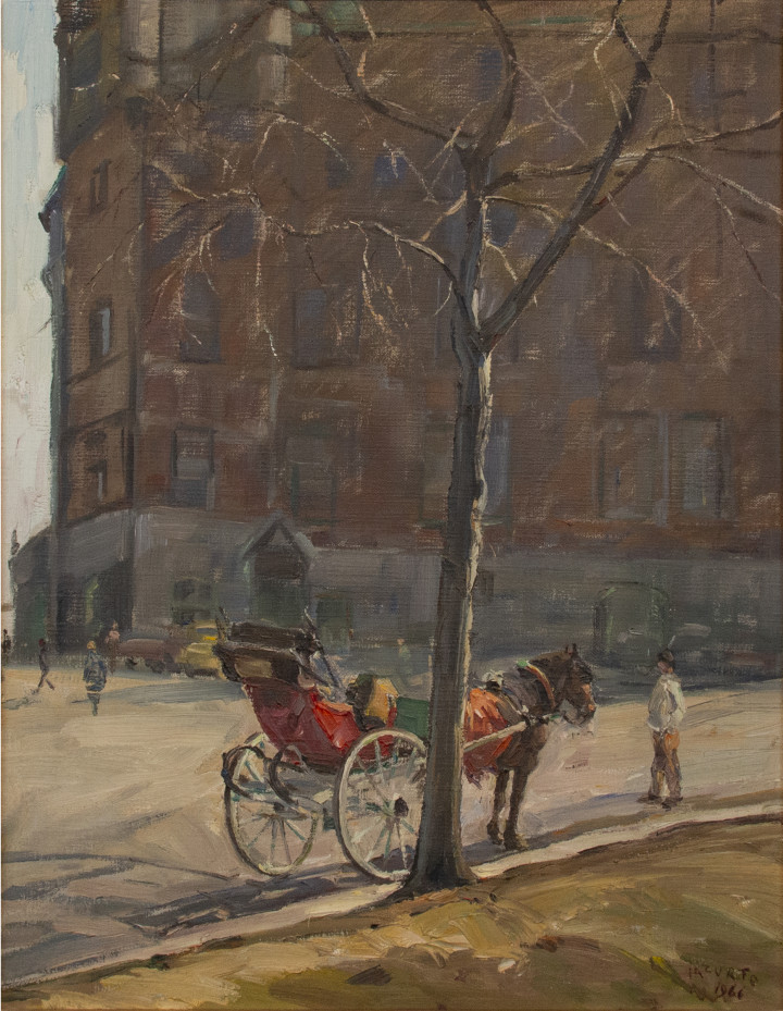 Francesco Iacurto View of Place d'Armes (Vue de la Place d'Armes, Québec), 1966 Oil on canvas - Huile sur toile 30 x 24 in 76.2 x 61 cm