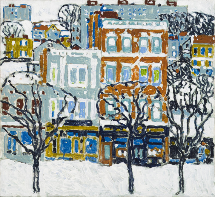 David Milne Store Fronts (New York), 1914-15 Oil on canvas 24 1/4 x 26 in 61.6 x 66 cm This work is included in the David B. Milne Catalogue Raisonne of the Paintings compiled by David Milne Jr. and David P. Silcox, Vol. 1, no. 106.2, p. 140.