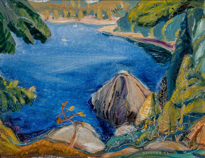 Arthur Lismer On Pender Island, East Coast of Vancouver Island, BC, 1953 Oil on canvas - Huile sur toile 14 x 18 1/8 in 35.5 x 46 cm