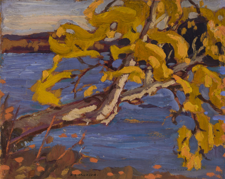 A.Y. Jackson Autumn, Algoma, 1921 Oil on wood (bevelled edges) 8 1/2 x 10 1/2 in 21.6 x 26.7 cm