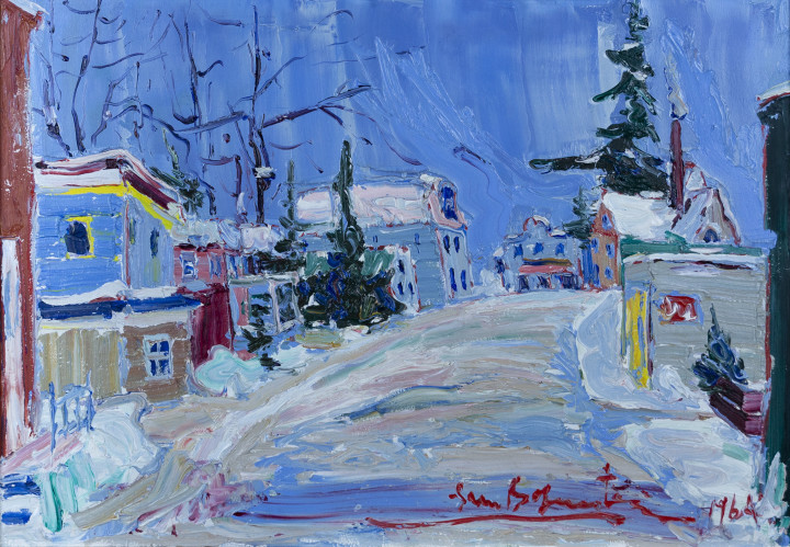 Sam Borenstein Village Street in Winter, 1964 Oil on board 12 x 16 in 30.5 x 40.6 cm