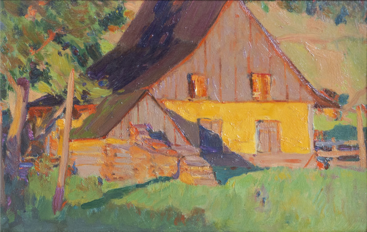 Clarence A. Gagnon Maison de Fermiers au soleil couchant (Baie St. Paul), 1923 (circa) Oil on panel 6 x 8 in 15.2 x 20.3 cm