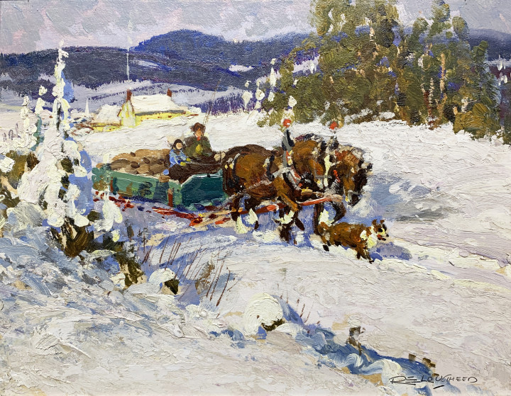 Robert E. Lougheed March Day Near Lachute Oil on panel - Huile sur panneau 8 x 10 in 20.3 x 25.4 cm