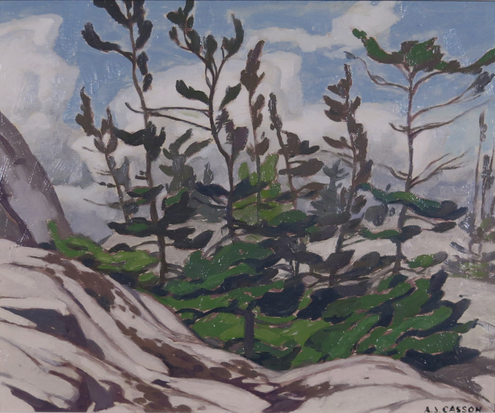 A.J. Casson Jack Pine - Picnic Island, McGregor Bay Oil on board 9 3/8 x 11 1/4 in 23.8 x 28.6 cm