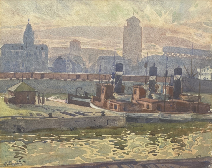 Henry J. Simpkins Montreal Harbour, 1935 Watercolour 10 1/2 x 13 1/2 in 26.7 x 34.3 cm