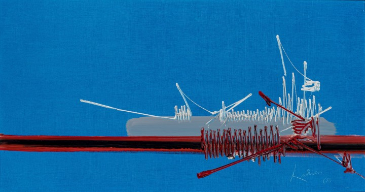 Georges Mathieu Kahnawaké, 1965 Oil on canvas 15 x 28 3/4 in 38.1 x 73 cm
