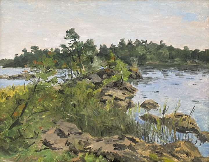 Goodridge Roberts Georgian Bay, 1955 (summer) Oil on masonite - huile sur isorel 25 x 32 in 63.5 x 81.3 cm
