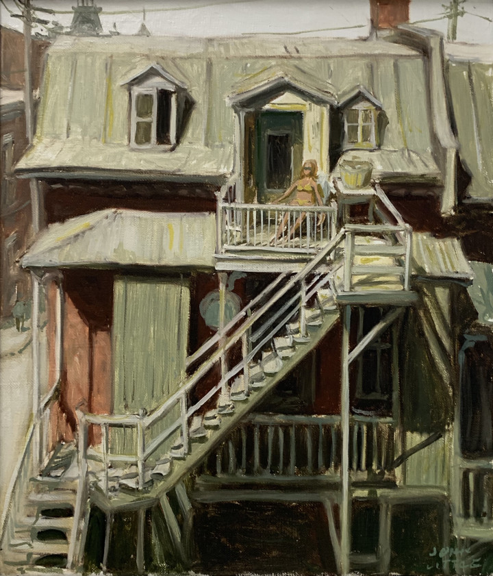 John Little Summer on Napoleon St. Mtl., 1969 Oil on canvas 13 1/2 x 11 3/4 in 34.3 x 29.8 cm