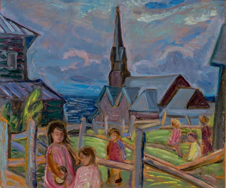 Anne Savage Children Playing, Metis, Quebec, 1940 Oil on board 12 x 14 in 30.5 x 35.6 cm