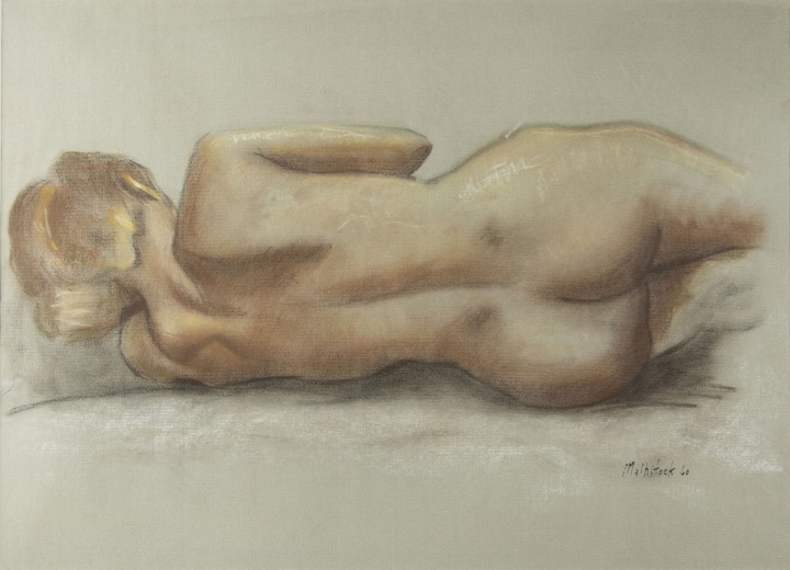 Louis Muhlstock Reclining Nude, 1960 Pastel on paper 12 1/2 x 24 1/2 in 31.8 x 62.2 cm